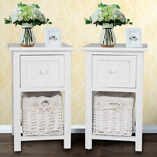 Shabby Chic White Bedside Side Bedroom Table Drawer With Wicker Storage Unit AU