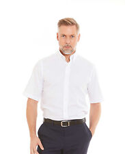 Savile Row Men's White Pinpoint Slim Fit Short Sleeve Shirt