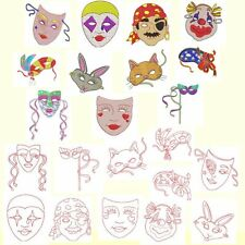 Mardi Gras Masks Machine Embroidery-22 Designs + Redwork-by Anemone Embroidery