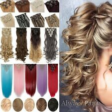 UK Full Head 8Pcs 18clips Clip in on Hair Extensions Real Long as human hair
