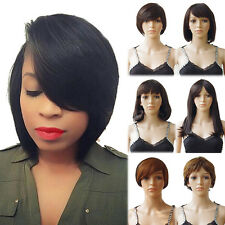 Women Ladies Full Wig Real Human Hair Short Straight Daily Wigs Natural Colour m