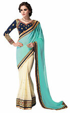 Indian Ethnic Georgette Sari With Unstitched Blouse Party Wear Saree Costume