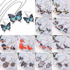 Retro Resin Printing Butterfly Owl Animal Necklace Earrings Set Women Jewelry