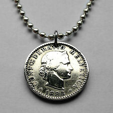 1884! Switzerland 20 rappen pendant Swiss necklace Liberty Zurich Geneva n001576