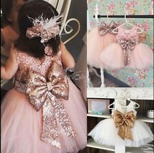 Girls Bow Pearl TuTu Princess Pageant Wedding Bridesmaid Party Infant Baby Dress
