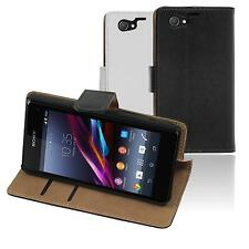 Artificial Leather Case for Sony Xperia Z1 Compact - Wallet  + protective foils