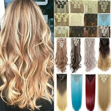 UK Real Thick Full Head Long Straight Curly Hair Extension Extensions 18 Clips