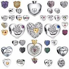 925 silver Heart Zirconia charms bead For sterling PAN bracelet necklace Chain