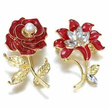 Women Gold Plated Crystal Rhinestone Pearl Red Rose Flower Brooch Pin Jewellery