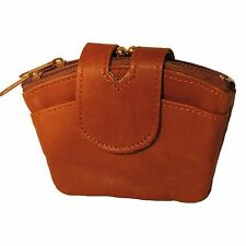 Small Genuine Leather Women's Coin Purse with Kiss Lock Metal Frame and Two Addi