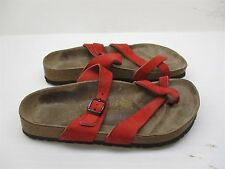 PAPILLIO BY BIRKENSTOCK #A501 Women's Size 6 Slip On Red Leather Sandals