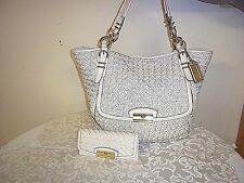 Authentic Coach Kristin Pinnacle Ivory Woven Leather Tote Shoulder Bag 19386