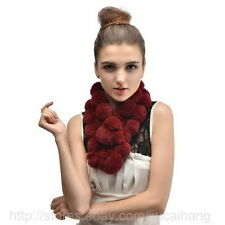 Real Rex Rabbit Fur ball Scarf Scarves Wrap Neck Warmer Shawl Stole 10Color -357
