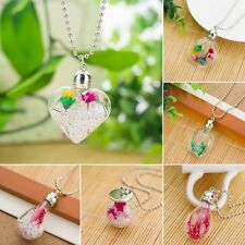 Natural Real Dried Flower Round Heart Glass Crystal Pendant Chain Necklace New
