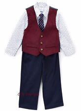 Boys IZOD outfit 2T 3T 4T NWT red vest white dress shirt navy blue pants suit