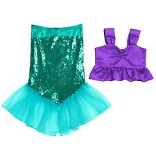 2PCS Kid Girls Shiny Sequins Mermaid Tails Party Costume Outfits Fancy Top+Skirt