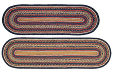Stratton Braided Table Runner in Navy, Ruby, Copper and Tan, Two Sizes, Jute