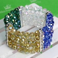 Multicolor AB Crystal Glass Faceted Round Beads Wide Bracelet Stretchy Gift