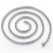 3/4mm Boys Mens Chain Necklace Silver Tone Stainless Steel Round Box Link