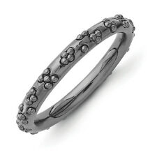 2.5mm Black Plated Sterling Silver Stackable Textured Band