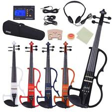 Silent Violin Electric Violin Fiddle 4/4 + Bow Headphones Case Rosin Tuner Z5T5
