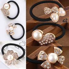 Women Hairband Ponytail Bow Pearl Flower Holder Ring Tie Elastic Hair Band Rope