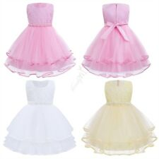 Baby Kids Girls Summer Sleeveless Pearls Layer Tulle Flower Girl Dress Princess