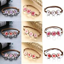 Natural Dried Flower Round Glass Bracelet Bangle Braided Leather Women Jewelry
