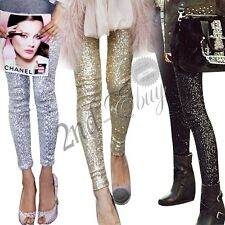 New women fashion Stretch Slim thin Gold sequins leggings Pencil Pants Trousers
