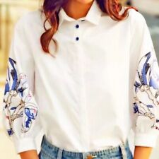 New Womens Blue Floral Print 3/4 Sleeve Button Down Shirt  White Blouse Tops