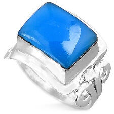 Sterling Silver Ring 925 Solid Chalcedony Gemstone Square Rectangle Spirals Sz