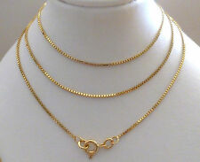 9ct 9k Solid Gold Box Chain Necklace, Yellow White Rose 1.5mm, N70 CUSTOM