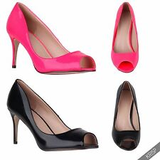 Women Peep Toe Patent High Heel Court Shoes Office Party Pumps AU 5-10
