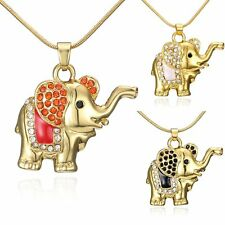 Women Lovely Gold Plated Crystal Rhinestone Elephant Pendant Necklace Jewelry