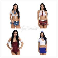 Women School Girl's Dress Outfit Air Hostess Uniform Cosplay Costume Fancy Skirt