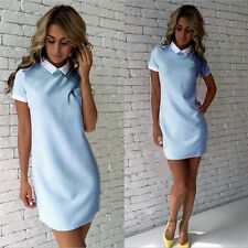 New Womens Polo Neck Knitted A Line Cocktail Shift Party Mini Shirt Casual Dress
