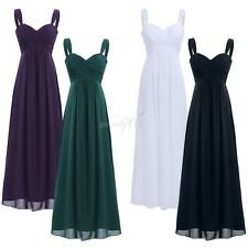 Women Lady Chiffon Pleated Bridesmaid Formal Dress Long Evening Party Prom Gown