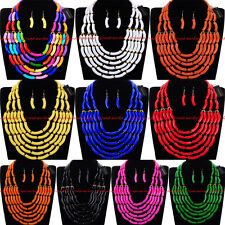 Fashion Gold Chain Resin Cluster Choker Chunky Statement Bib Necklace Earrings