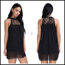 Sexy Women Lace Chiffon Sleeveless Loose Party Cocktail Evening Vest Mini Dress