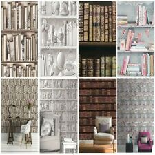 BOOKCASE PATTERN WALLPAPER WHITE, NATURAL FEATURE WALL VARIOUS DESIGNS