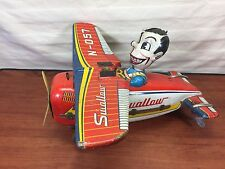 Vintage 1950's 1960's Tin Litho Swallow Friction Toy Plane For Parts Japan