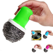 Yooocart Pot Brush Cleaning Round Handle Stainless Steel Scrubbers Tool Utensil