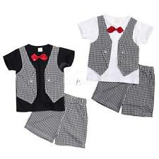 Gentleman Baby Boys Wedding Party Outfits Short Sleeve T-shirt with Shorts Pants