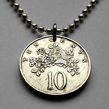 Jamaica 10 cents coin pendant Jamaican necklace Butterfly jewelry flower n000115