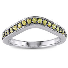 Miadora Yellow Sapphire Chevron Eternity Ring in Sterling Silver with Black Rhod