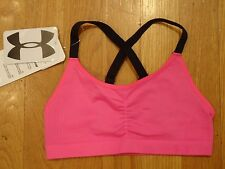 NWT UNDER ARMOUR SEAMLESS SPORTS BRA FITTED CHAOS PINK GIRLS YOUTH SMALL YSM