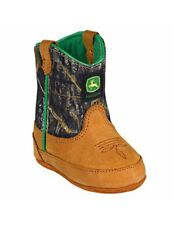 John Deere Western Boots Boys Crib Wellington Tan Mossy Oak JD0188