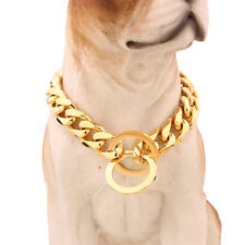 13mm Gold Tone Curb Cuban Link Dog Chain Pet Collar Stainless Steel 14''-26''
