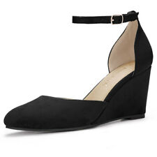 Women Rounded Toe Buckled Ankle Strap Wedge Pumps