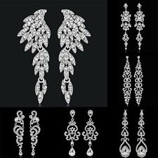 Fashion Crystal Rhinestone Angel Wings Dangle Earrings Wedding Bridal Jewelry